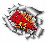 Ripped Torn Metal Design With Retro Comic Book Kapow Motif External Vinyl Car Sticker 105x130mm